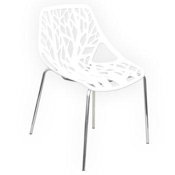 Трапезен стол Carmen 9911, хромирани крака, бял  image