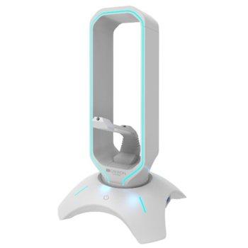 Бънджи за мишка Canyon CND-GWH200PW, 2x USB 2.0, стойка за слушалки, RGB подсветка, бяло image