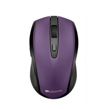 Мишка Canyon CNS-CMSW08V, оптична (1600dpi), 6 бутона, безжична, USB, лилава image