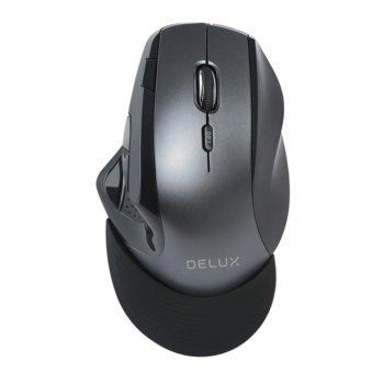Мишка Delux M910GB, оптична (2400dpi), безжична, USB, 9 бутона, черна image