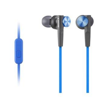 "Слушалки Sony MDR-XB50AP, тип ""тапи"", микрофон, сини image"