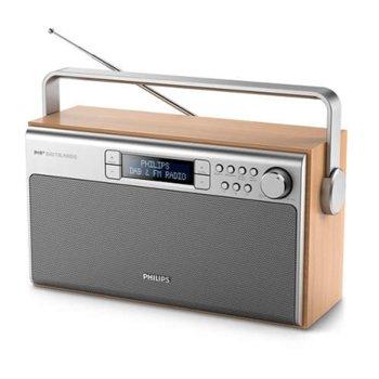 Радио Philips AE5220, ретро дизайн, Цифров FM тунер, 2x 2.5W, LR14 (батерии), сиво-кафяво image