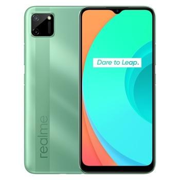"Смартфон Realme C11 (зелен), поддържа 2 sim карти, 6.5"" (16.51 cm) IPS LCD дисплей, осемядрен MediaTek Helio G35 2.3 GHz, 3GB RAM, 32GB Flash памет (+ microSD слот), 13.0 + 2.0 & 5.0 Mpix камера, Android, 196g image"