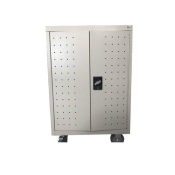 Универсален шкаф Estillo LP-1224, съхранение и зареждане на до 24 лаптопа/таблета, стомана, ключалка, 2x вентилатора за охлаждане, мобилен image