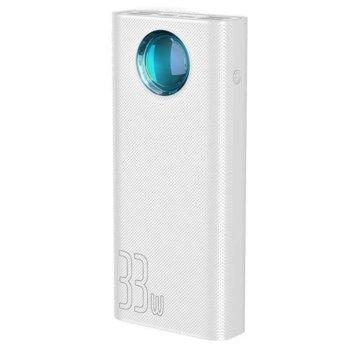 Външна батерия /power bank/ Baseus Amblight, 30 000 mAh, бяла, USB Type-C(PD 3.0), 4x USB Type-A(1x QC), 1x Lightning, LED дисплей image