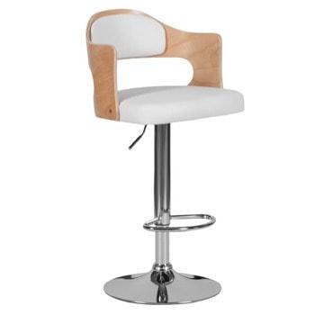 Бар стол Carmen 4045, до 100кг, еко кожа, хромирана база, газов амортисьор, коригиране на височина, бял image