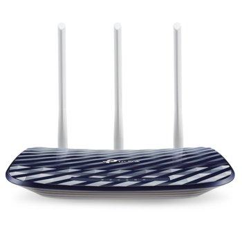 Рутер TP-Link Archer C20 AC750, 750Mbps, 2.4GHz(300 Mbps)/5GHz(433 Mbps), Wireless AC, 4x LAN 100, 1x WAN 100, 3x външни антени image