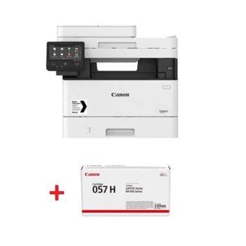 Мултифункционално лазерно устройство Canon i-SENSYS MF445dw в комплект с тонер касета Canon CRG-057H, монохромен принтер/копир/скенер, 600 x 600 dpi, 38 стр./мин., USB, LAN, Wi-Fi, A4 image