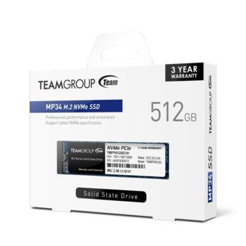 Памет SSD 512GB Team Group MP34, NVMe, M.2 2280, скорост на четене 3000 MB/s, скорост на запис 1700 MB/s image