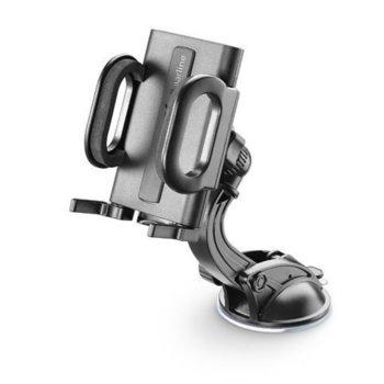 Стойка за телефон Cellularline Big Crab Dual Fix, за кола, универсална, за предно стъкло, вакуумна, 180 градуса на въртене, черна image
