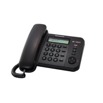 """Стационарен телефон Panasonic KX-TS560, 50 позиции, бутон """"Flash, регулиране силата на звънене, черен image"""