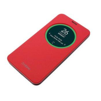 Калъф за Asus ZenFone 2 Laser, отваряем с прозорец, поликарбонатов, Asus View Flip ZE500KL, червен image