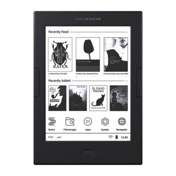 """Електронна книга Energy Sistem EREADER MAX, 6"""" (15.24 cm) E Ink Carta HD дисплей, двуядрен ARM Cortex A9 1.0GHz, 512MB DDR3, 8GB Flash памет, Wi-Fi, microSDXC слот, microUSB, черна image"""