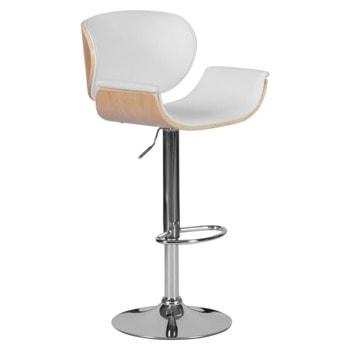 Бар стол Carmen 4050, до 100кг, еко кожа, хромирана база, газов амортисьор, коригиране на височина, бял image