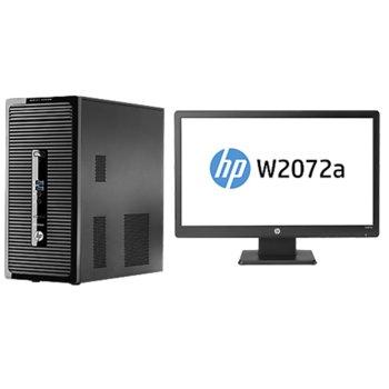 """Настолен компютър HP ProDesk 400 G2 MT + monitor 20"""" (50.80 сm) HP W2072a, дву-ядрен Intel® Core™ i3-4160 3.6GHz, 4GB DDR3 RAM, 500GB 7200 rpm, клавиатура & мишка, Free DOS, 1г. гаранция image"""