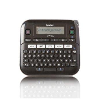 Етикетен принтер Brother PT-D210VP, LCD дисплей, ширина на етикета 3.5, 6, 9 и 12мм, скорост 20 мм/сек, QWERTY клавиатура image