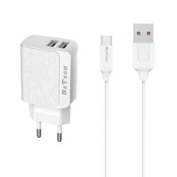 Зарядно устройствo DeTech DE-09, от шуко към 2х USB, 5V/2.4A, бяло, с Micro USB кабел 1.0m image