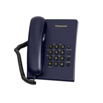 Стационарен телефон Panasonic KX-TS500, бутон за повторно набиране, високоговорител, син image