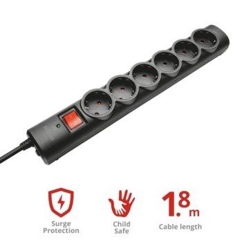 Разклонител Trust Surge Guard 21059, 6 гнезда, защита от токови удари, 1.8м, ON-OFF ключ, черен image