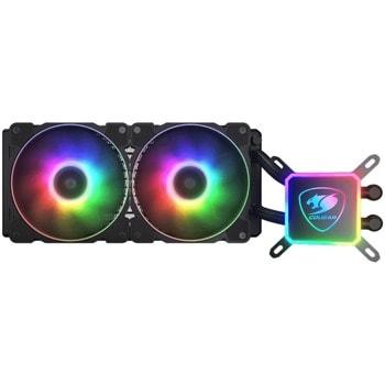 Водно охлаждане за процесор Cougar Gaming Aqua 280 RGB (CG3MAQR2800001), съвместимост със сокет Intel LGA LGA 775/115X/1200/2011/2066/1366 & AMD TR4/AM4/FM2/FM1/AM3+/AM3/AM2+/ AM image