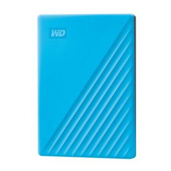 Твърд диск 2TB, Western Digital MyPassport, син, външен, USB 3.1 image