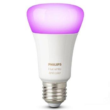 Смарт крушка Philips Hue 871869659298400, Wi-fi, 10W, формат A19, E27, 2000-6500K, 550 lm, димираща, 16 милиона цвята image