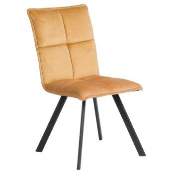 Трапезен стол Carmen, 516, изработен от дамаска и метални, праховобоядисани крака, жълт image