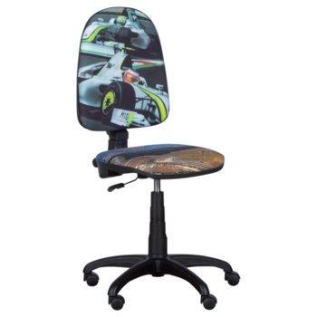 Детски стол Carmen Prestige, дамаска, газов амортисьор, полипропиленова база, коригиране височина, болид 2 image
