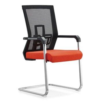 Посетителски стол RFG Lucca M, дамаска и меш, червена седалка, черна облегалка image