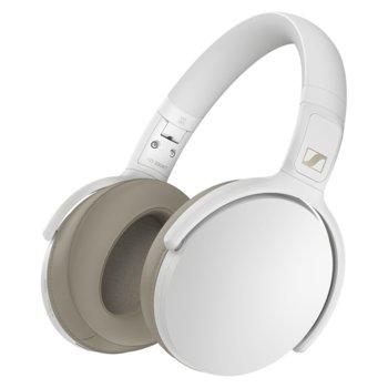 Слушалки Sennheiser HD 350BT (508385), безжични, микрофон, Bluetooth, до 30 часа време на работа, бели image