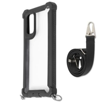 Калъф за Samsung Galaxy S20, хибриден, 4Smarts Sling Downtown 4S467519, с лента за врата, черен-прозрачен image