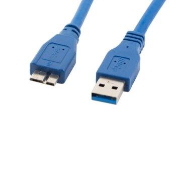 Кабел Lanberg CA-US3M-10CC-0005-B, USB 3.0 A(м) към USB Micro B(10-pin)(м), 0.5m, син image