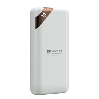 Външна батерия /power bank/ Canyon CPBP20W, 20000 mAh, бяла, 2.1A/5V image