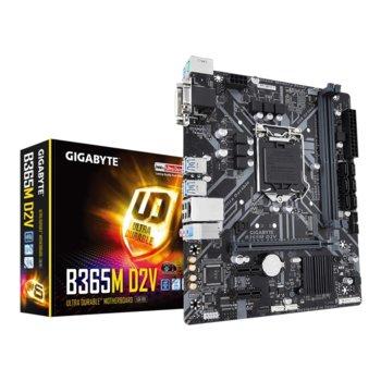 Дънна платка Gigabyte B365M-D2V, LGA1151, B365, DDR4, PCI-Е (DVI&VGA), 6x SATA 6Gb/s, 1x M.2, 6x USB 3.1, micro ATX  image