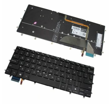 Клавиатура за лаптоп DELL, съвместима със серия Inspiron 13 7347 7348 XPS 13 9343 9350, черна, без рамка, с подсветка, с малък ентър image