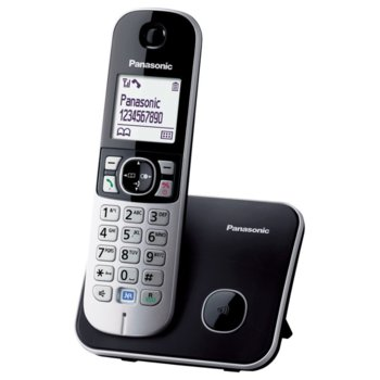 """Безжичен телефон Panasonic KX-TG 6811, 1.8""""(4.6cm) монохромен дисплей, черен image"""