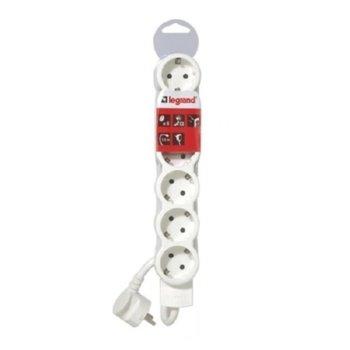 Разклонител Legrand 695018, 6 гнезда, пикова мощност 3500 W, номинален изходен ток 16 A, 5 метра кабел, бял image