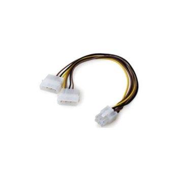 Захранващ кабел VCom CE313 6pin PCI-E(м) към 2x 4pin Molex(ж), 0.15m image