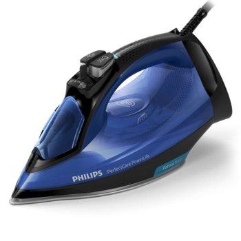 Парна ютия Philips PerfectCare Powerlife, 45 г/мин непрекъсната пара, 180 г парен удар, гладеща повърхност SteamGlide Plus, 2500W, синя image