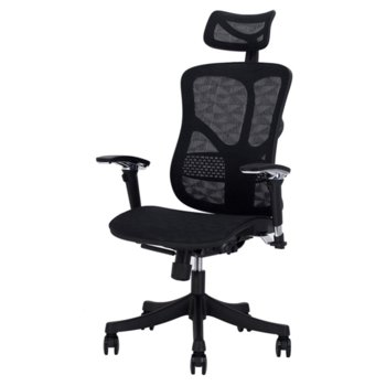Работен стол RFG TECH@SMART (ON4010200096), меш, 250 кг. максимално натоварване, пластмасова база, газов амортисьор, черен image
