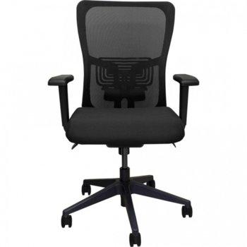 Работен стол Vaseat Atlas, пластмасови подлакътници, седалка от мемори пяна, газов амортисьор, коригиране на височината, черен image