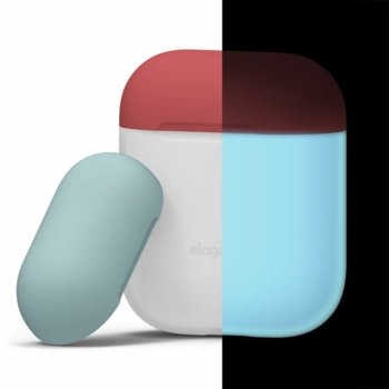 Калъф за слушалки Elago Duo Silicone Case EAPDO-LUBL-IROCBL, за Apple AirPods, силиконов, бял-фосфоресциращ image