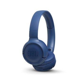 Слушалки JBL Tune 500BT, безжични, микрофон, до 16 часа работа, сини image