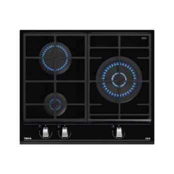 Плот за вграждане Teka GZC 63310, газов, стъклокерамика, 3 нагревателни зони, 9 степени, механично управление, черен image