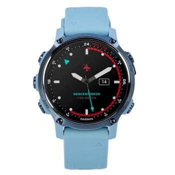"""Смарт часовник Garmin Descent Mk2S, 1.20"""" (3.04 cm) MIP дисплей, Bluetooth Smart, ANT+, Wi-Fi, до 7 дни живот на батерията, гмуркане до 100m, GPS, акселерометър, пулсомер, барометричен алтиметър, компас, жироскоп, сензор за дълбочина, Connect IQ, бял image"""