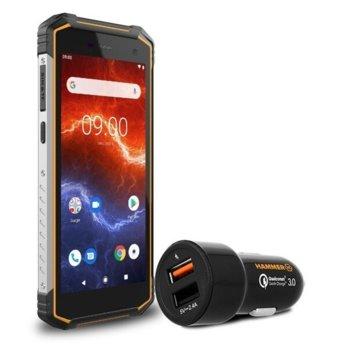 """Смартфон MyPhone Hammer Energy 2 (оранжев) в комплект с зарядно за кола, поддържа 2 sim карти, 5.5"""" (13.97 cm) HD+ дисплей, двуядрен MTK6761 2.0GHz, 3GB RAM, 32GB Flash памет (+ microSD слот), 13.0 MP camera, Android image"""