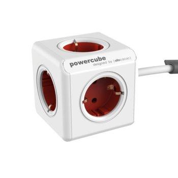Разклонител Allocacoc Power Cube 1307, 5 гнезда, лепенка, защита от деца, бял/червен, 3 м кабел image