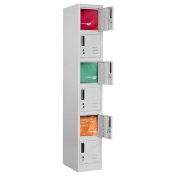 Шкаф Carmen CR-1265 J, 6 рафта, прахово боядисан метал, вентилационен отвор, заключване, дълбочина и височина 450x1850см, сив image