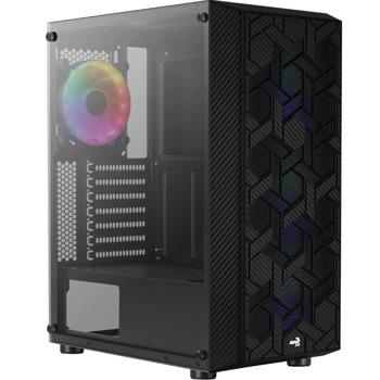 Кутия AeroCool Case Hive FRGB, ATX/Micro ATX/Mini-ITX, 2x USB 3.0, прозорец, черна, без захранване image