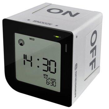 Часовник/будилник Bresser FlipMe Alarm Clock, календар, аларма, часовник, eдноцветен екран, синьо фоново осветление, сребрист image